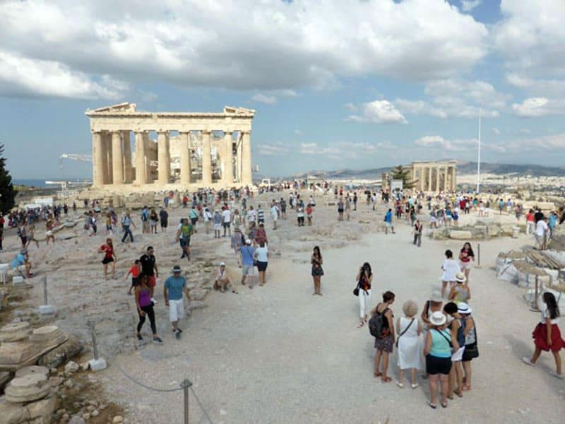 Афинский акрополь с видами на 2 храма - Парфенон и Эрехтейон